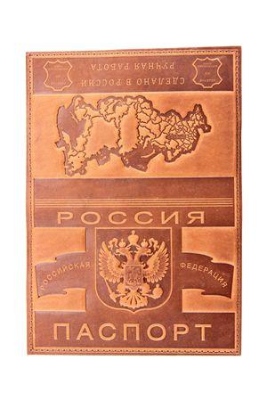 """Обложка для паспорта """"Карта"""" коньяк"""